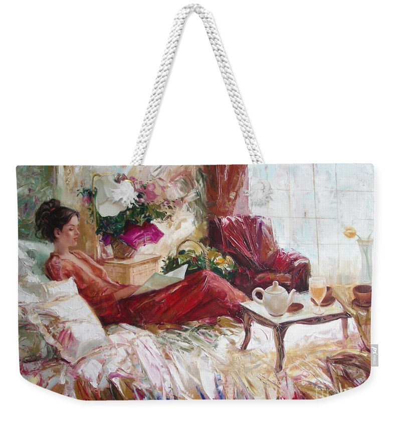 Art Weekender Tote Bag featuring the painting Recent news by Sergey Ignatenko