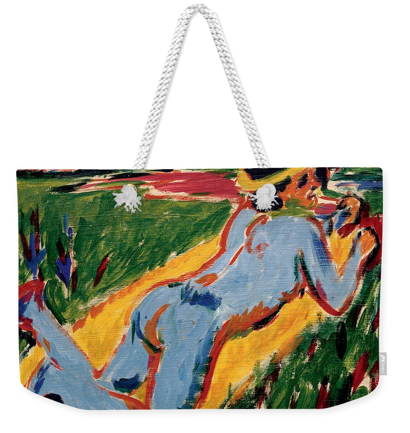 German Painters Weekender Tote Bag featuring the painting Reclining Blue Nude With Straw Hat by Ernst Ludwig Kirchner