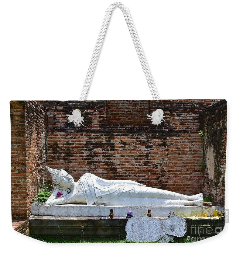 Buddha Weekender Tote Bag featuring the photograph Reclining Buddha by Eric Reger