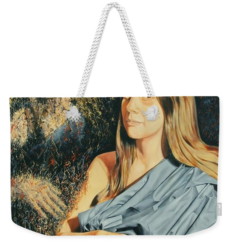 Surrealism Weekender Tote Bag featuring the painting Reconstruction Of The Classical Madonna by Darwin Leon