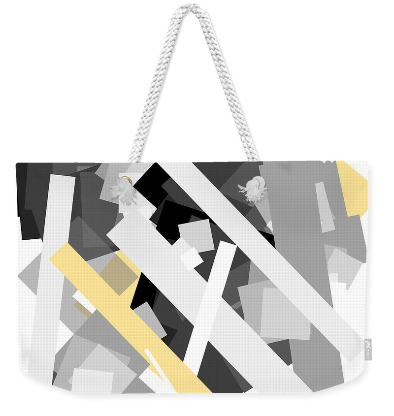 Yellow Weekender Tote Bag featuring the digital art Rectangles With Yellow Accent by Ewelina Karbownik