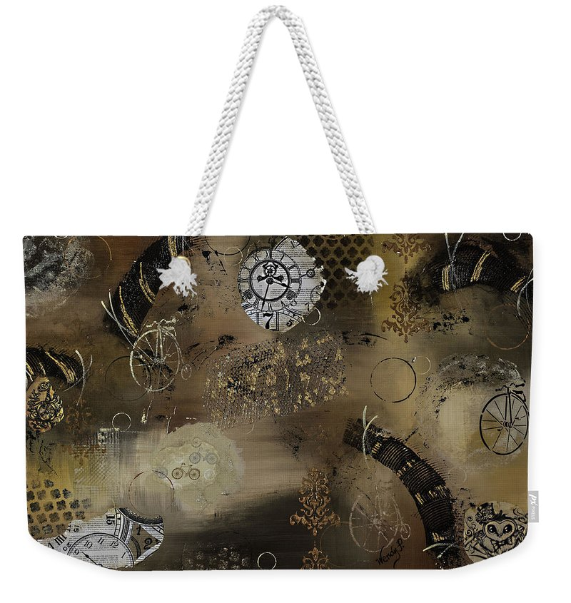 Steam Punk Art Weekender Tote Bag featuring the painting Recycled by Wendy Provins
