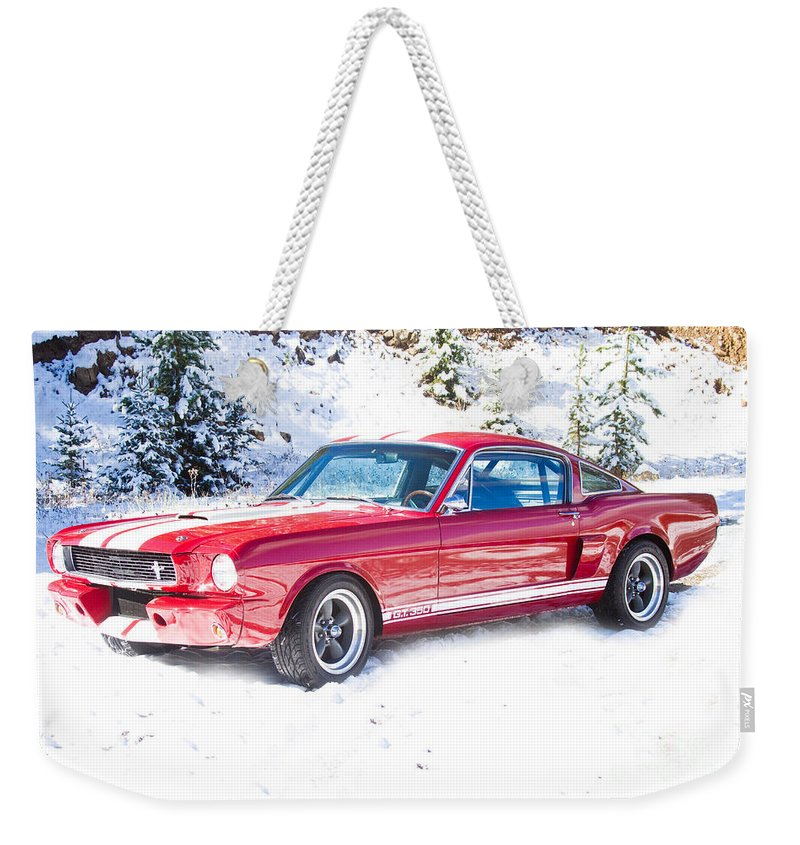 Automobiles Weekender Tote Bag featuring the photograph Red 1966 Ford Mustang Shelby by James BO Insogna