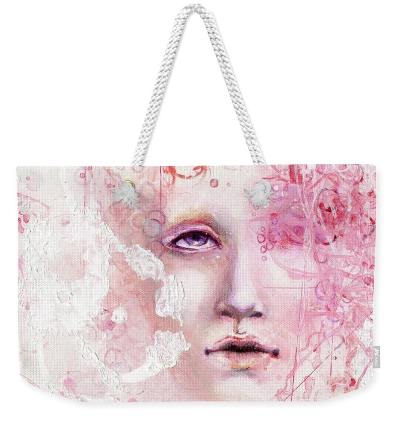 Design Weekender Tote Bag featuring the painting R.e.d. 6 by Lauren Schwind