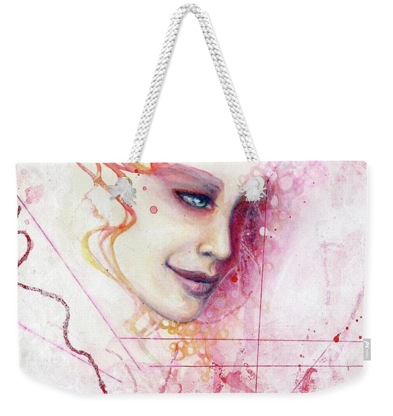 Portrait Weekender Tote Bag featuring the painting R.e.d. 8 by Lauren Schwind