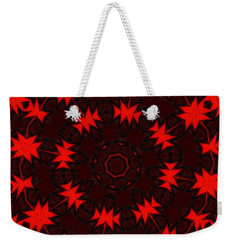 Fine Art Weekender Tote Bag featuring the digital art Red Abstract 031211 by David Lane