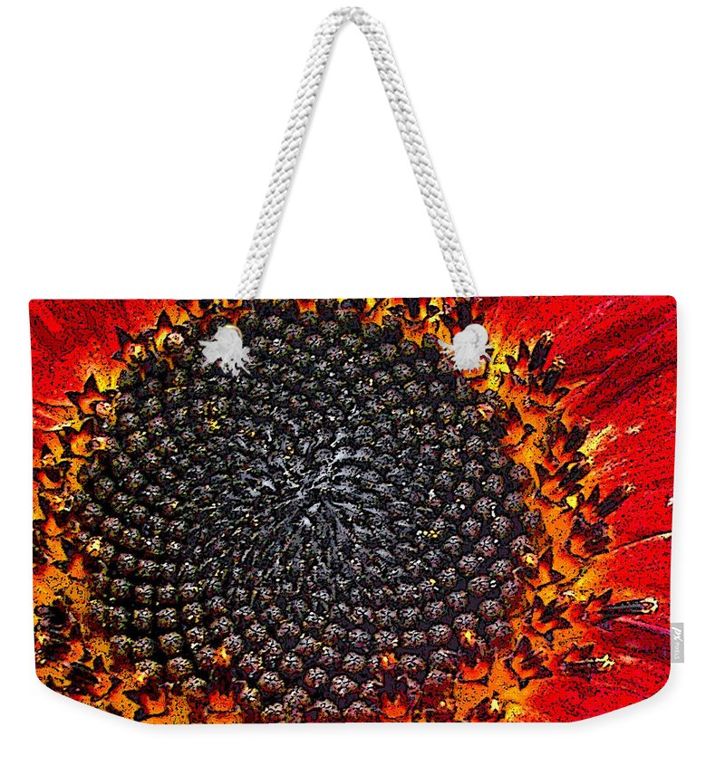 Sunflower Weekender Tote Bag featuring the digital art Red by Alpha Pup