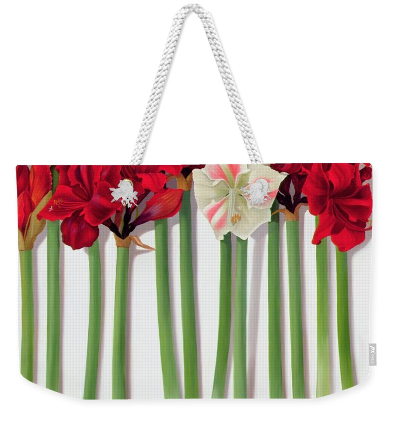 Flower; Still Life Weekender Tote Bag featuring the painting Red Amaryllis With Butterfly by Lizzie Riches