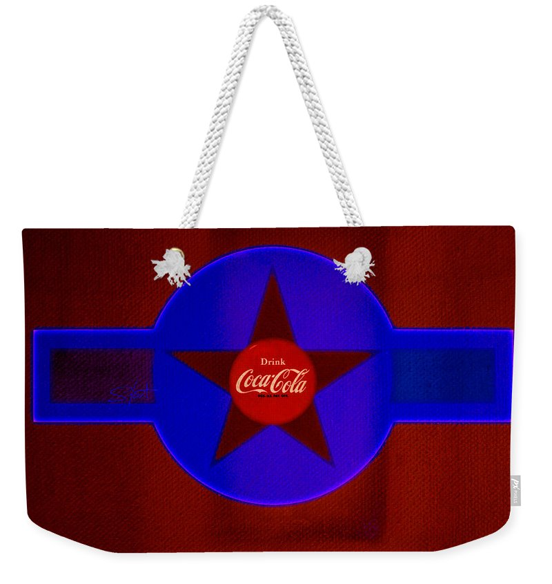 Label Weekender Tote Bag featuring the painting Red And Blue by Charles Stuart