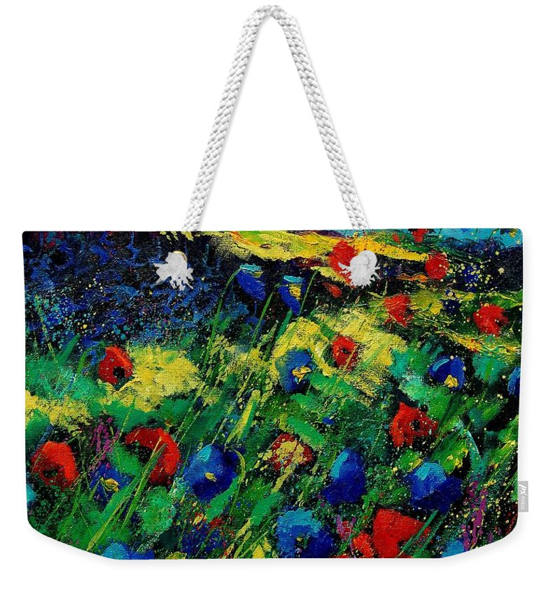 Flowers Weekender Tote Bag featuring the painting Red And Blue Poppies 56 by Pol Ledent