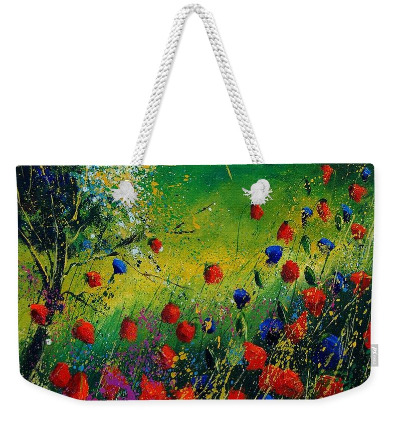 Flowers Weekender Tote Bag featuring the painting Red And Blue Poppies 67 1524 by Pol Ledent