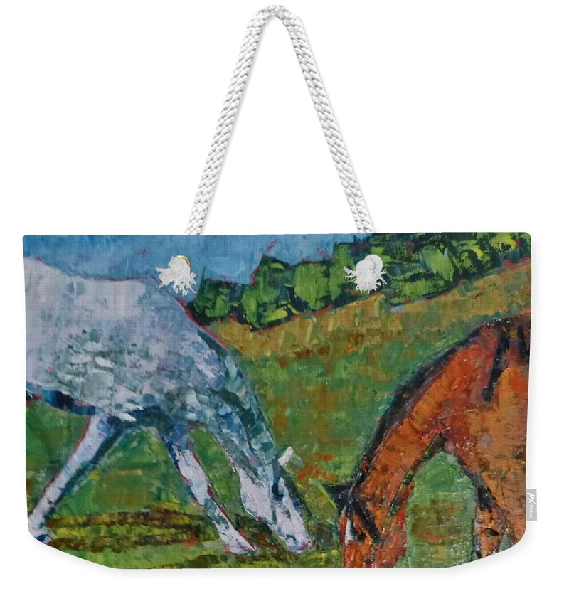 Weekender Tote Bag featuring the painting Red And His Mare by Susan Tormoen