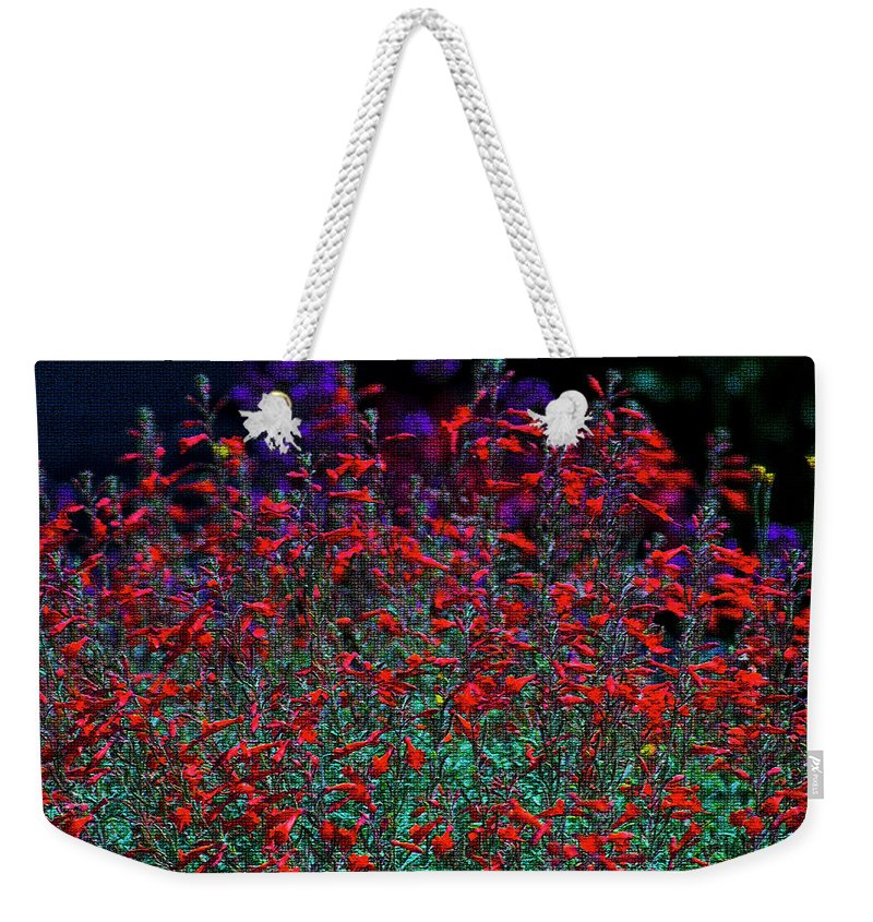 Flowers Photography Weekender Tote Bag featuring the photograph Red And Purple Flowers by Yulia Kazansky