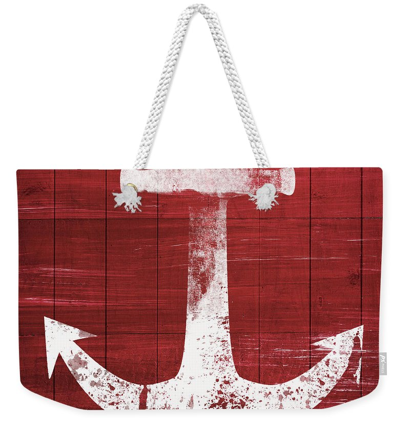 Anchor Weekender Tote Bag featuring the mixed media Red And White Anchor- Art By Linda Woods by Linda Woods