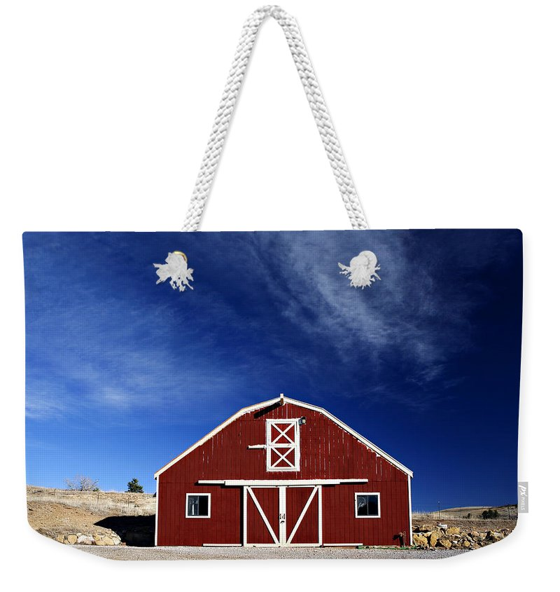 Americana Weekender Tote Bag featuring the photograph Red And White Barn by Marilyn Hunt