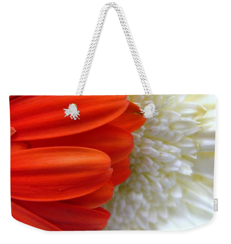 Flowers Weekender Tote Bag featuring the photograph Red And White by Rhonda Barrett