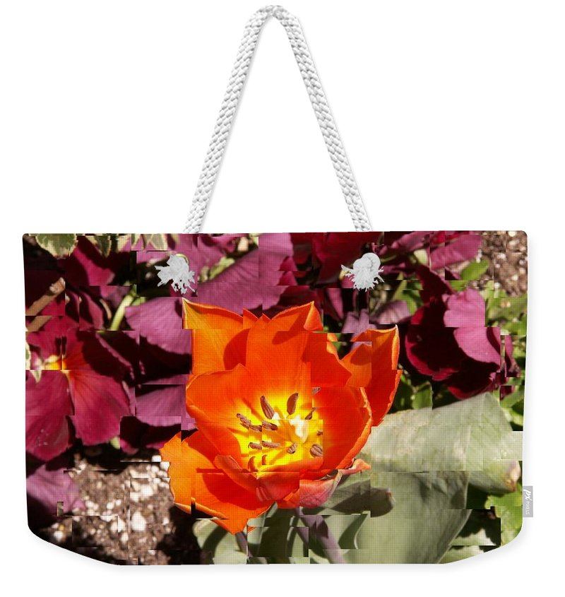 Flower Weekender Tote Bag featuring the digital art Red And Yellow Flower by Tim Allen