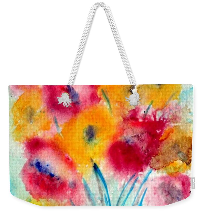 Flowers Weekender Tote Bag featuring the painting Red And Yellow Flowers by Luiza Vizoli