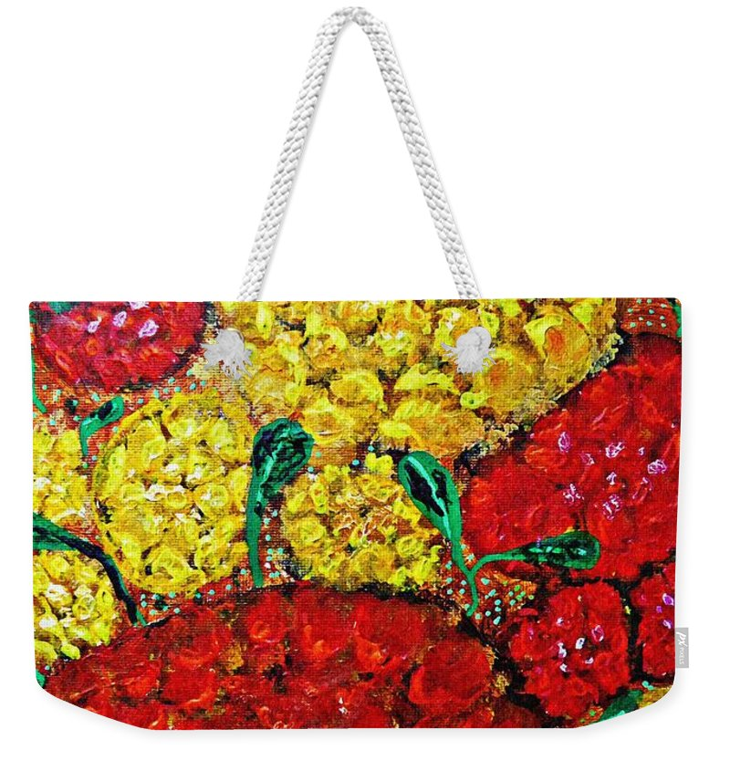 Flower Weekender Tote Bag featuring the painting Red And Yellow Garden by Sarah Loft