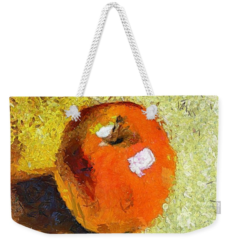 Red Apple Weekender Tote Bag featuring the painting Red Apple by Dragica Micki Fortuna