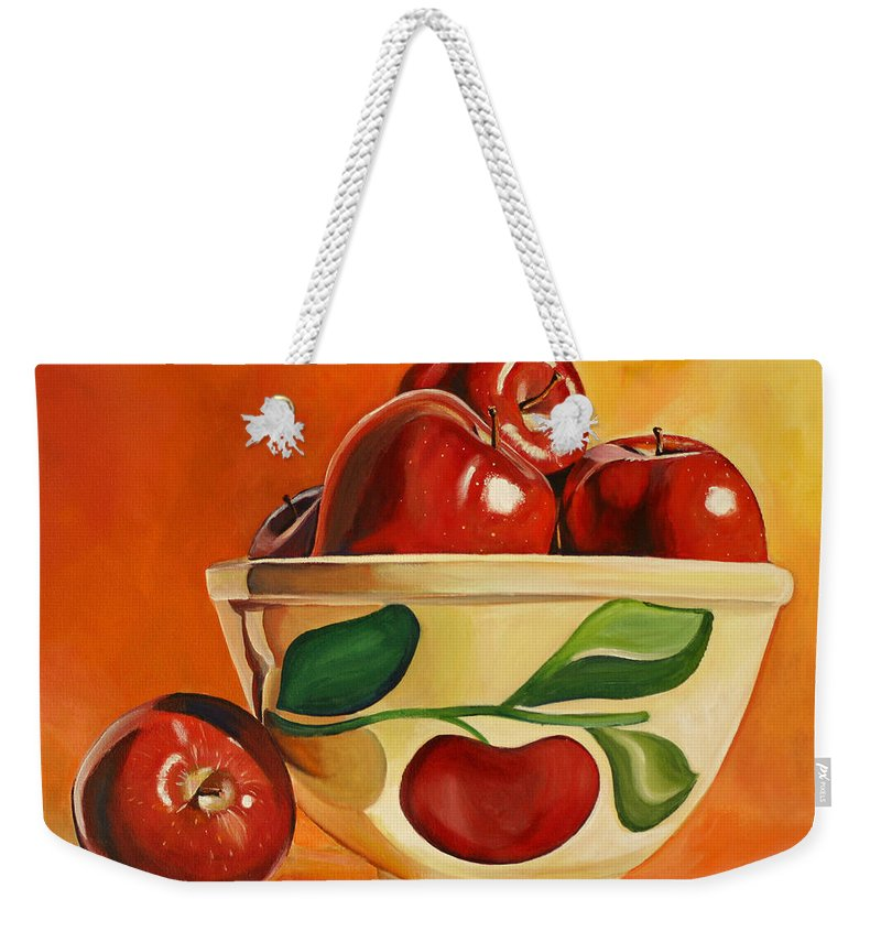 Apples Weekender Tote Bag featuring the painting Red Apples In Vintage Watt Yellowware Bowl by Toni Grote