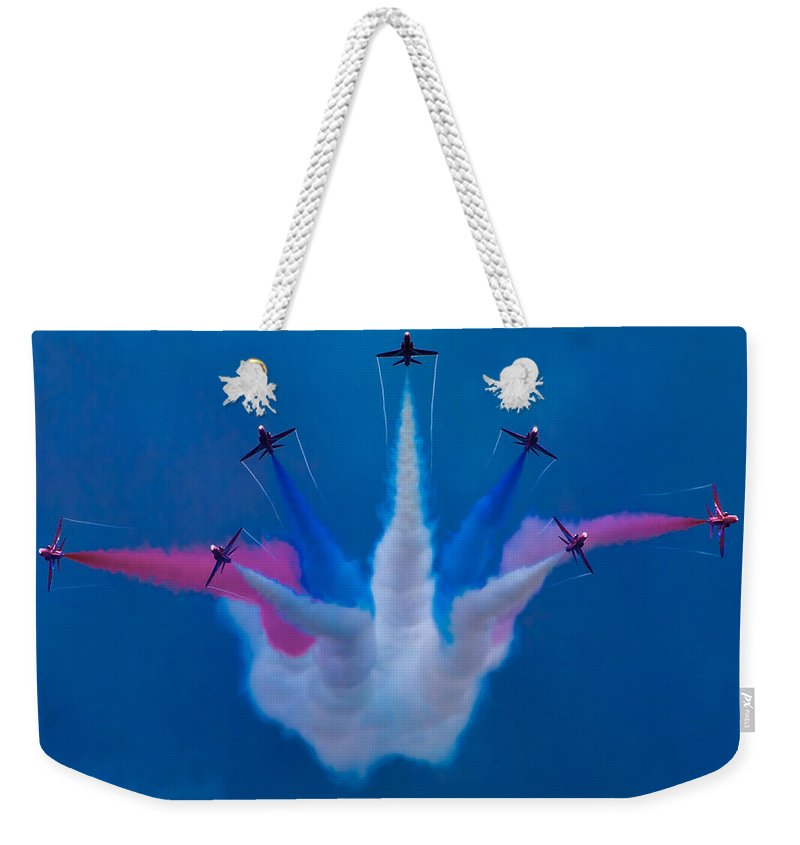 Flight Weekender Tote Bag featuring the photograph Red Arrows At Airbourne 2010 by Chris Lord
