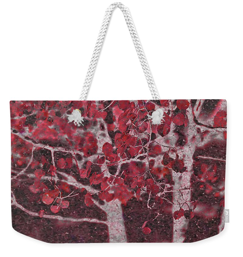 Red Weekender Tote Bag featuring the photograph Red Aspen by Jim And Emily Bush