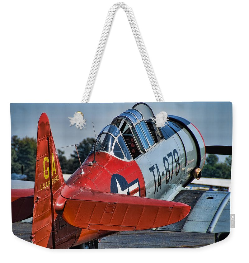 T 6 Texan Weekender Tote Bag featuring the photograph Red At-6 by Steven Richardson