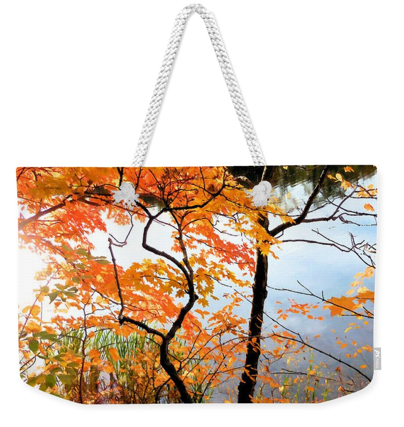 Red Autumn Leaves Weekender Tote Bag featuring the painting Red Autumn Leaves 5 by Jeelan Clark