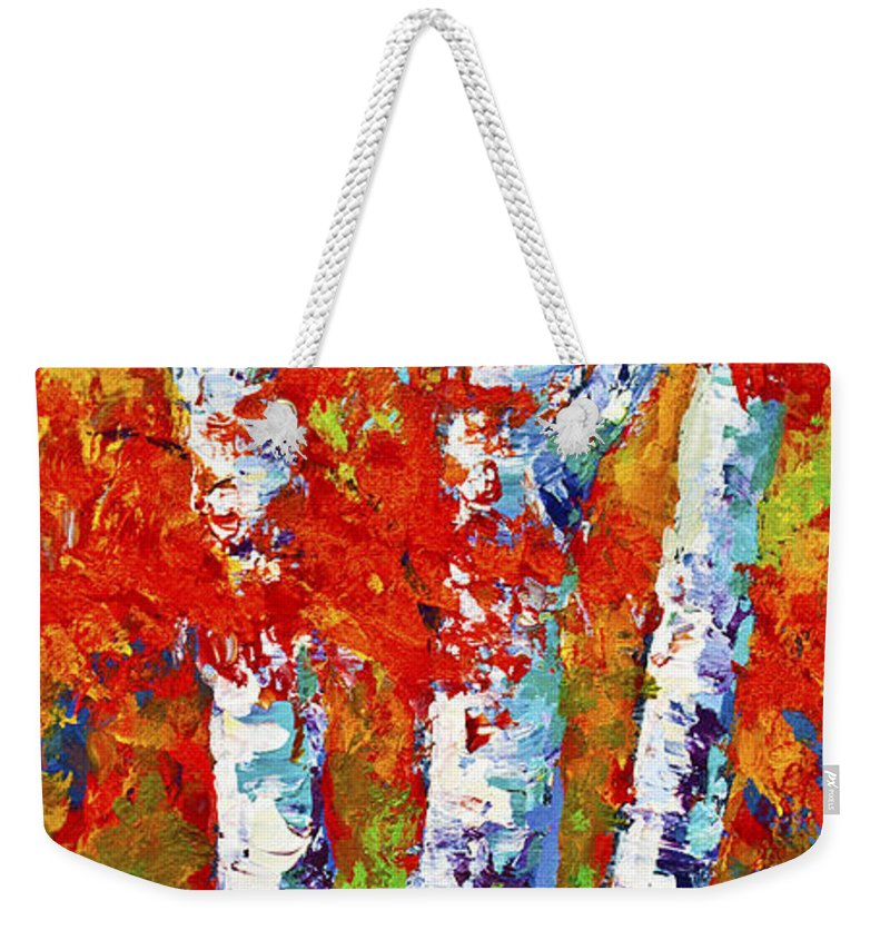 Paintings Weekender Tote Bag featuring the painting Red Autumn by Marion Rose