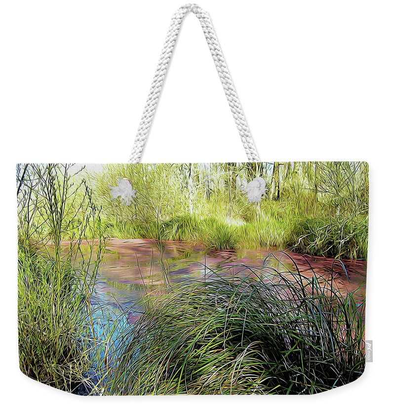 Nature Weekender Tote Bag featuring the photograph Red Azolla by Linda Carruth