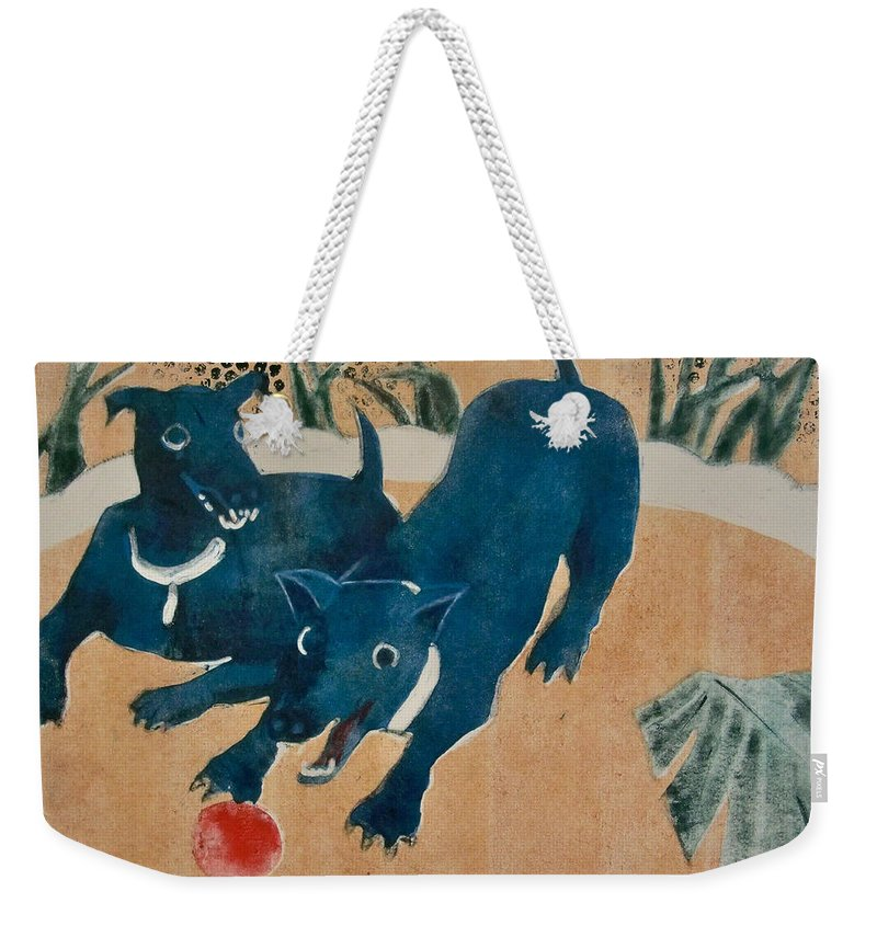 Ball Weekender Tote Bag featuring the painting Red Ball by Thomas Tribby