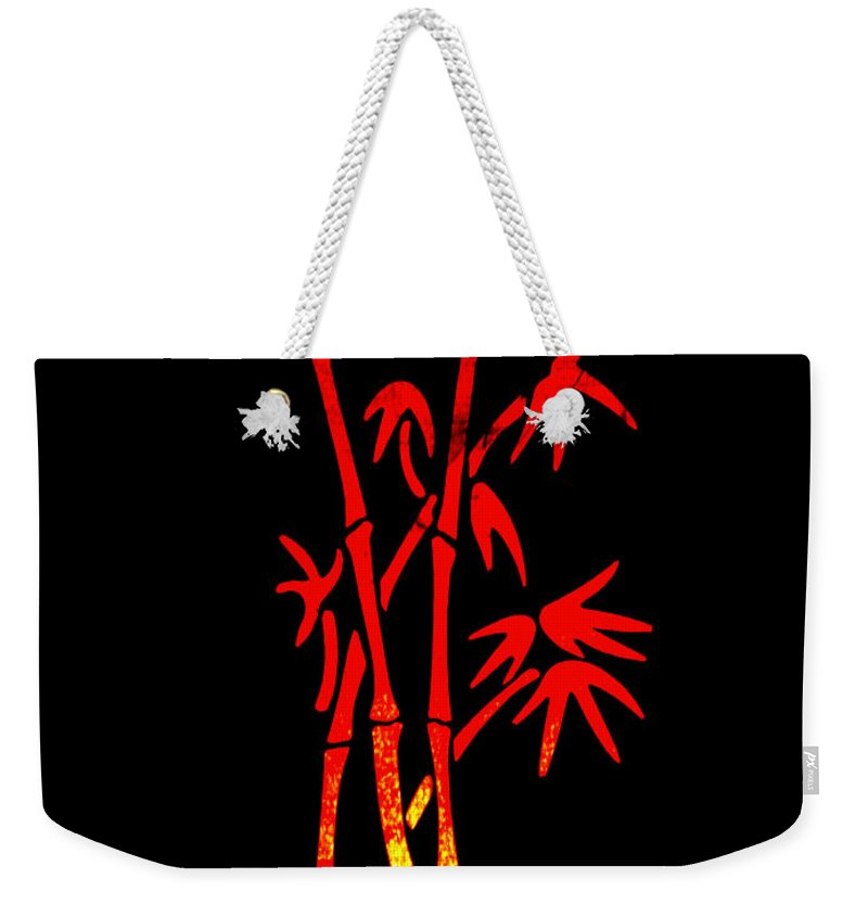 Patzer Weekender Tote Bag featuring the photograph Red Bamboo by Greg Patzer