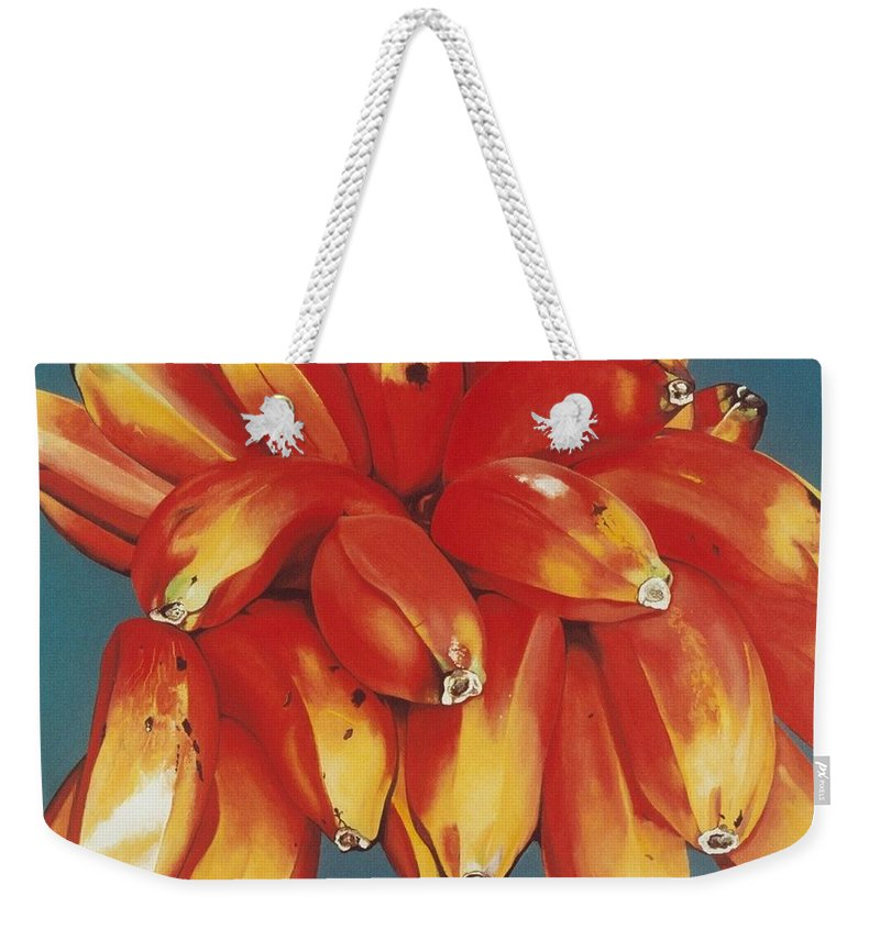 Hyperrealism Weekender Tote Bag featuring the painting Red Bananas Of Jocotepec by Michael Earney