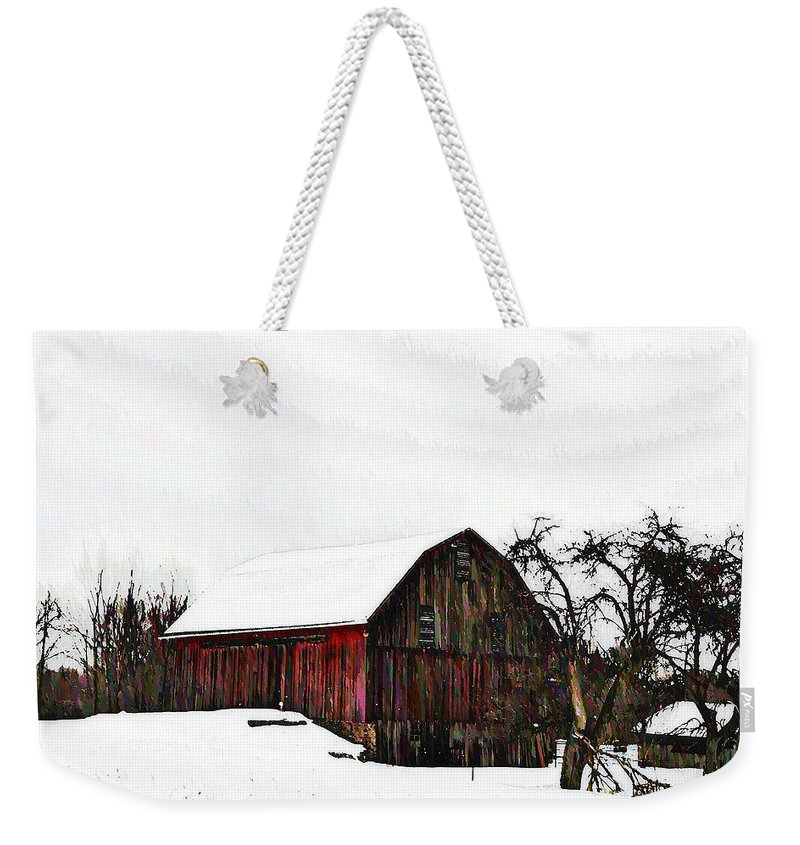 Red Barn Weekender Tote Bag featuring the photograph Red Barn In Snow by Bill Cannon