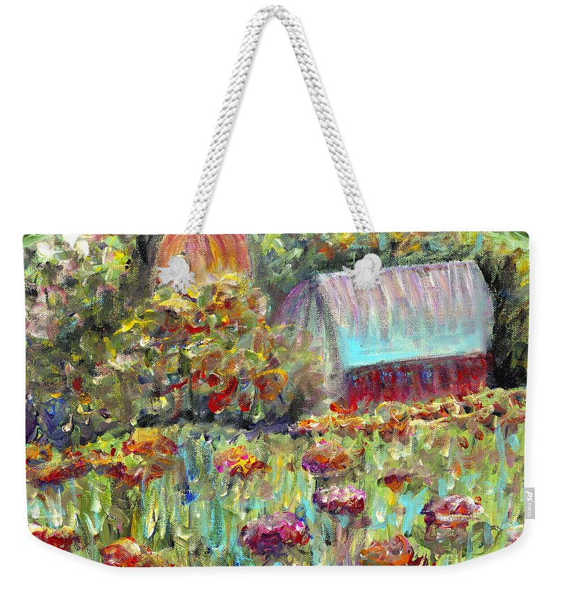 Barn Weekender Tote Bag featuring the painting Red Barn In Summer by Nadine Rippelmeyer
