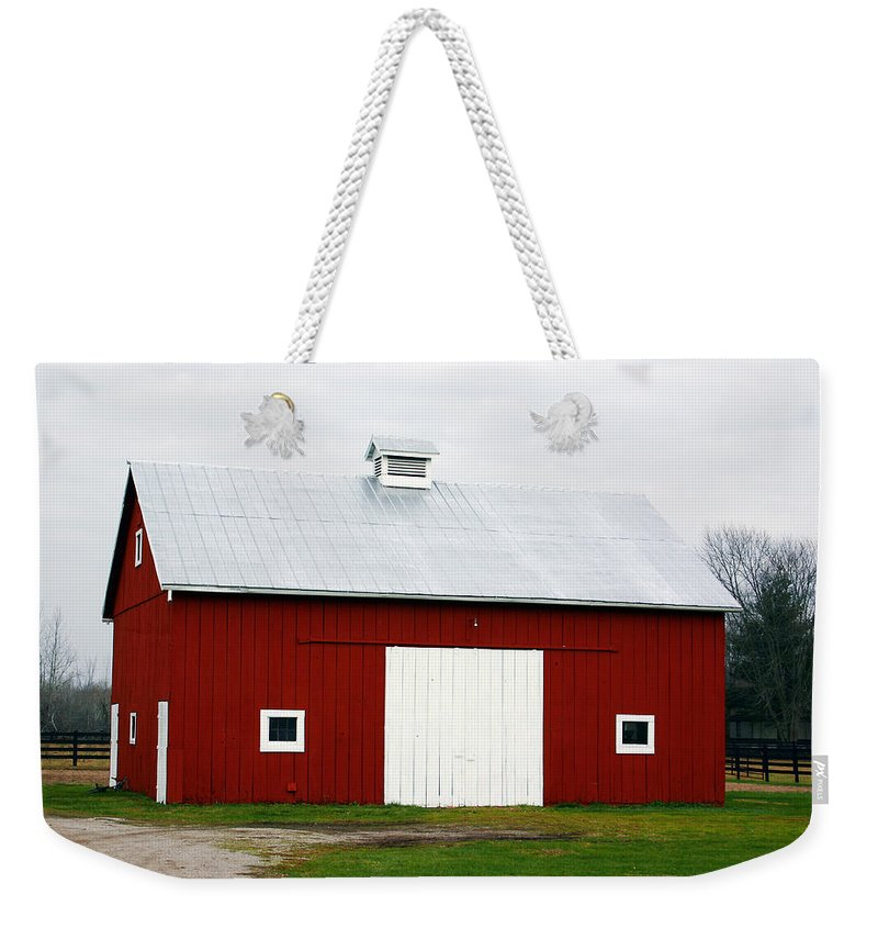 Barn Weekender Tote Bag featuring the photograph Red Barn- Photography By Linda Woods by Linda Woods