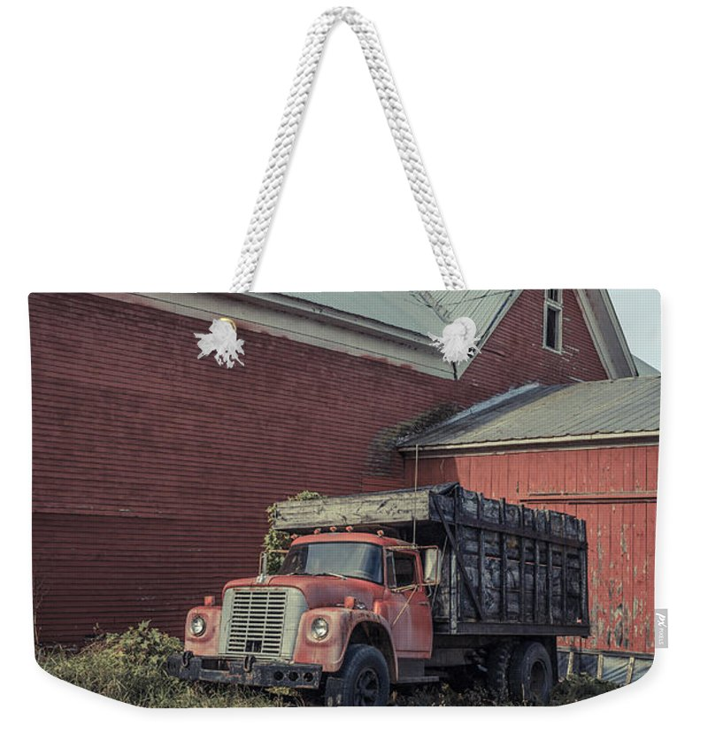 Vermont Weekender Tote Bag featuring the photograph Red Barn Red Truck by Edward Fielding