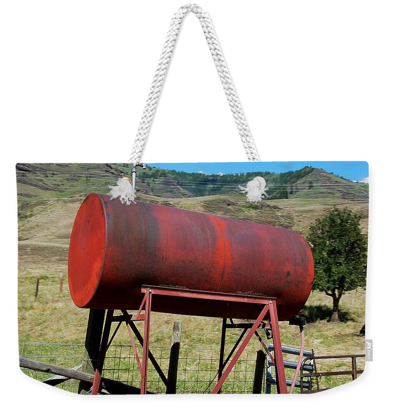 Farm Weekender Tote Bag featuring the photograph Red Barrel by Sara Stevenson