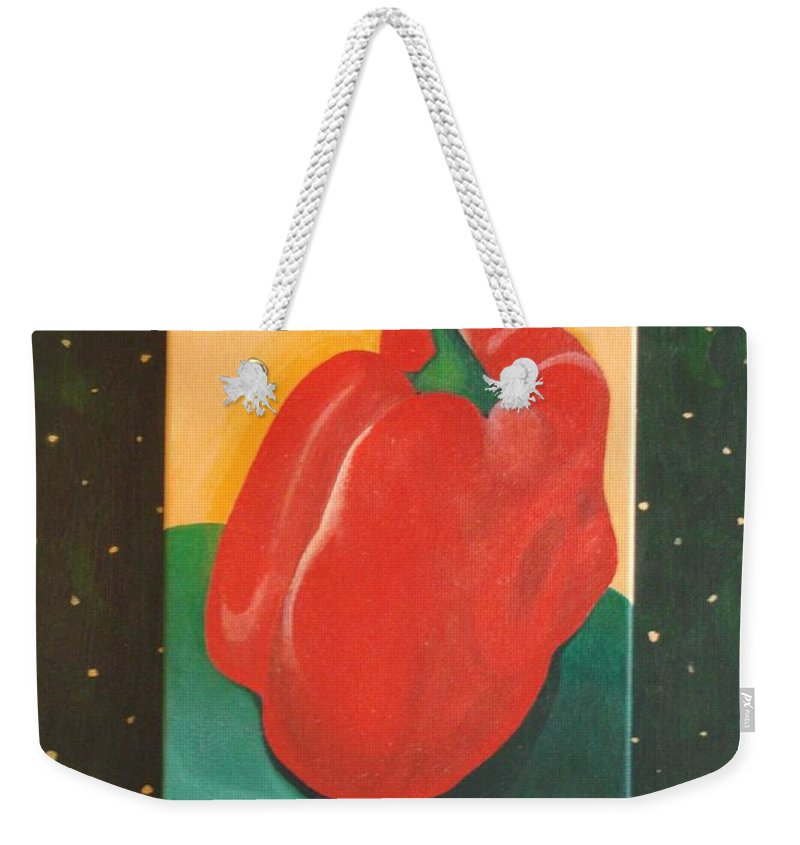 Bell Pepper Weekender Tote Bag featuring the painting Red Bell by Helena Tiainen