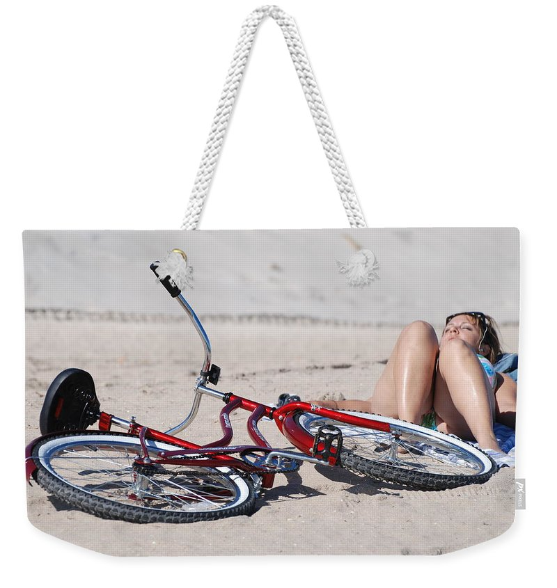 Red Weekender Tote Bag featuring the photograph Red Bike On The Beach by Rob Hans