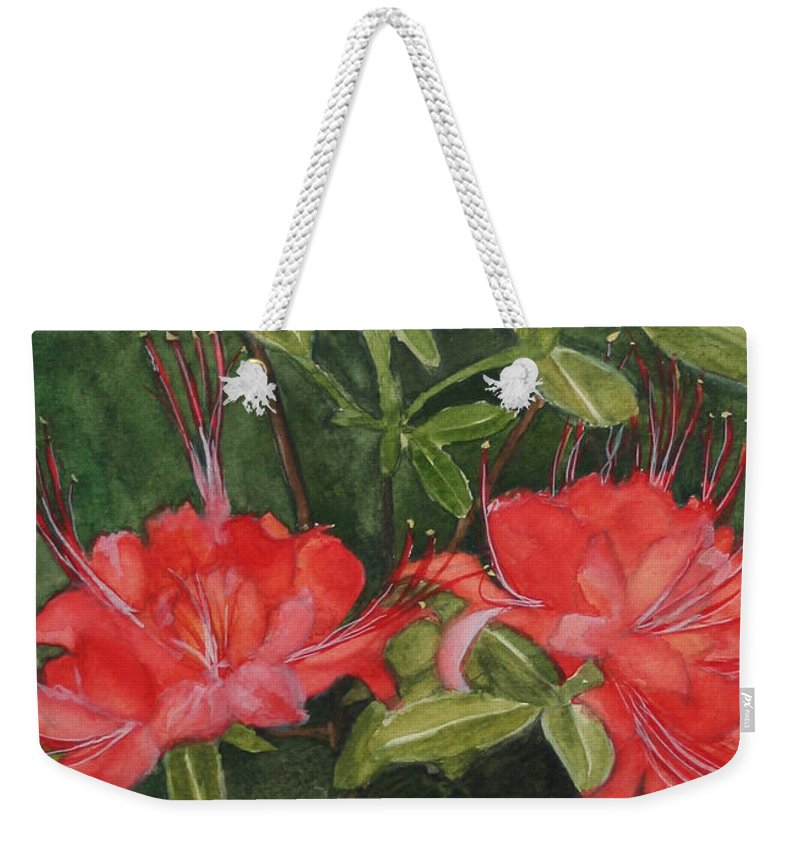 Flowers Weekender Tote Bag featuring the painting Red Blooms On The Parkway by Jean Blackmer