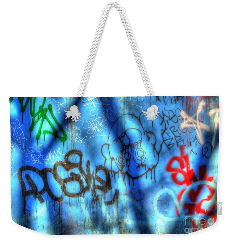 Metal Prints Weekender Tote Bag featuring the photograph Red, Blue, And Black Tags by Dorothy Hilde