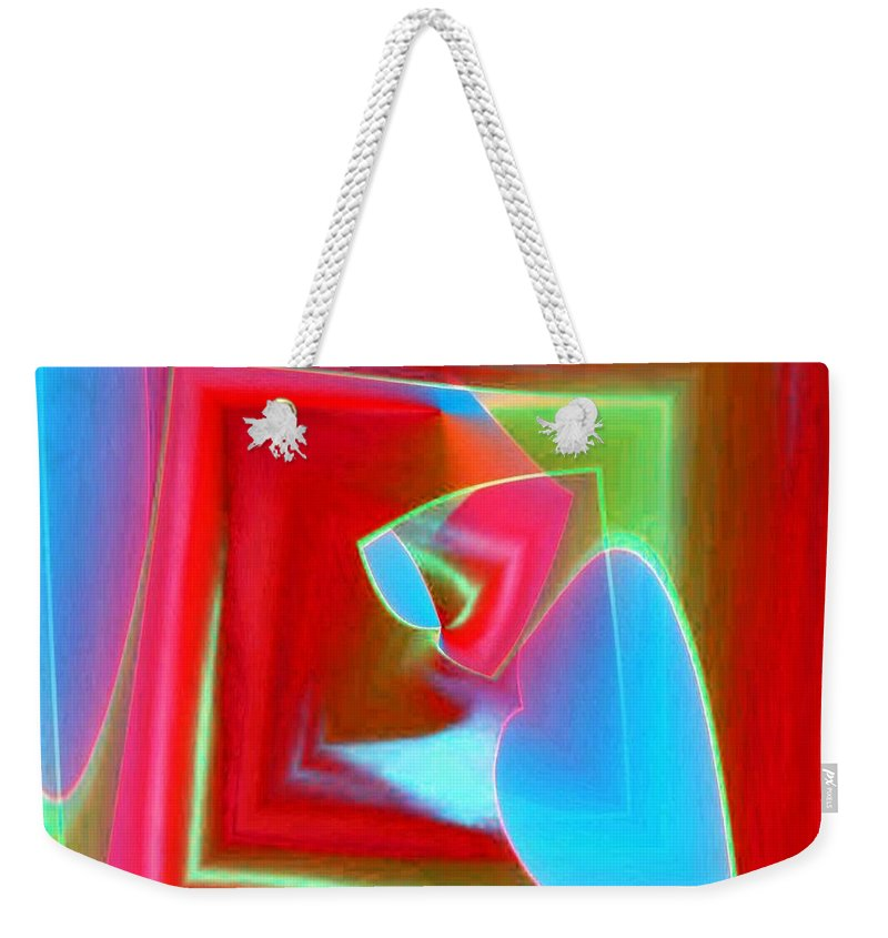 Tubes Weekender Tote Bag featuring the photograph Red Blue Cubed by Tim Allen