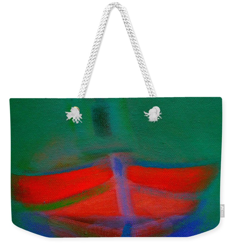 Fishing Boat Weekender Tote Bag featuring the painting Red Boat In The Mirror by Charles Stuart