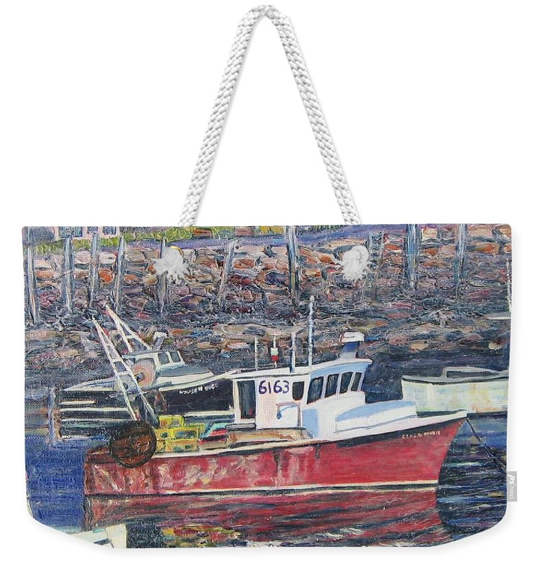 Boat Weekender Tote Bag featuring the painting Red Boat Reflections by Richard Nowak