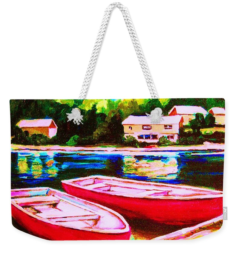 Red Boats Weekender Tote Bag featuring the painting Red Boats At The Lake by Carole Spandau
