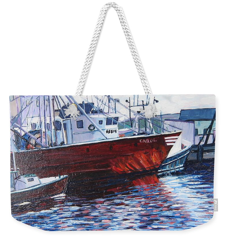 Boats Weekender Tote Bag featuring the painting Red Boats by Richard Nowak