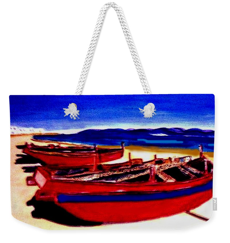 Boats Weekender Tote Bag featuring the painting Red Boats by Rusty Gladdish