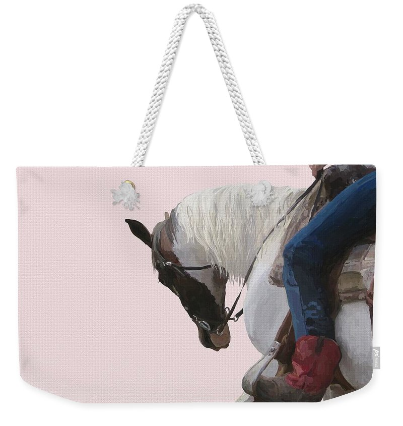 Red Boots Weekender Tote Bag featuring the digital art Red Boots by Holly Pottinger
